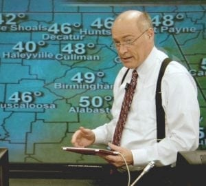 ABC 3340 James Spann & Pam Huff in front of weather map