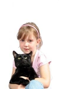 black cat and girl