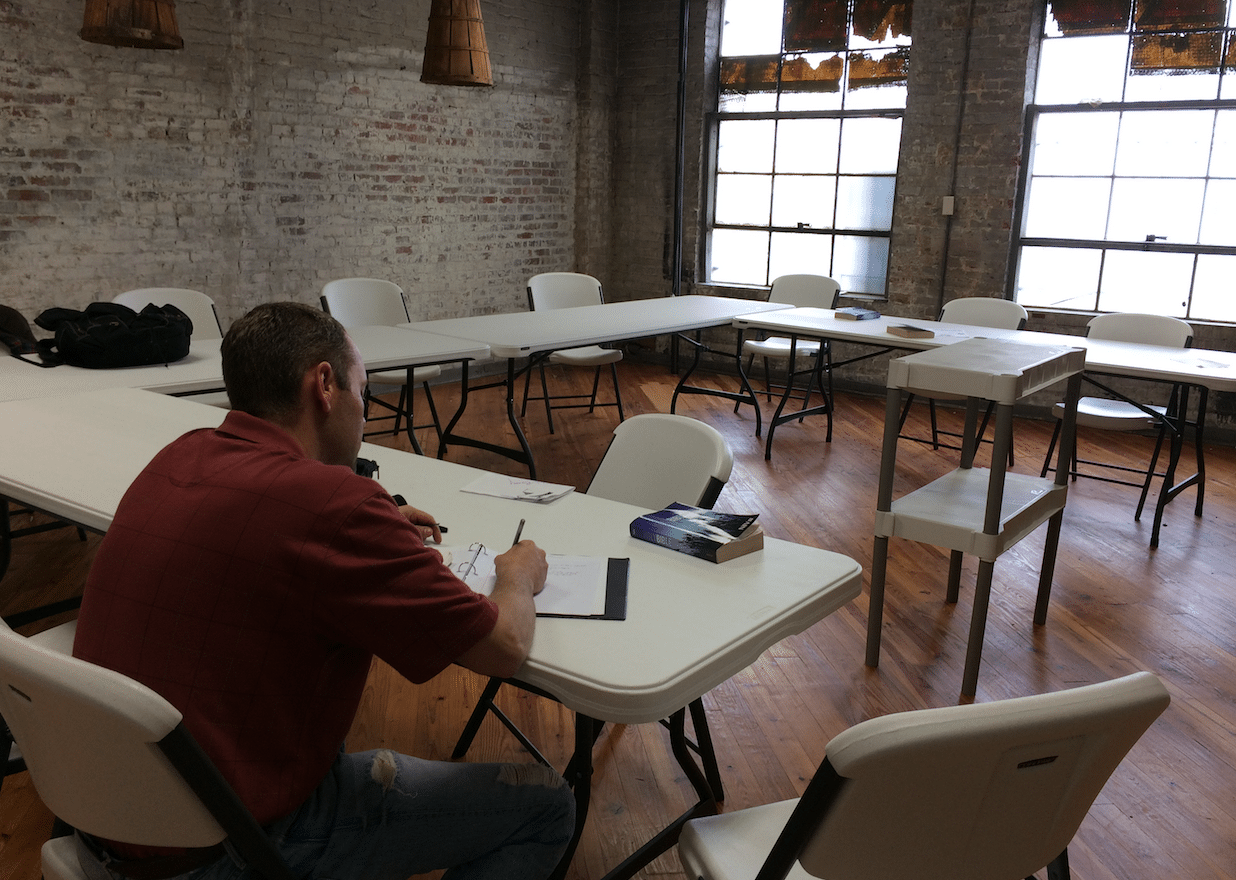 The Mission's old dining area has been transformed into a study area for men participating in the Mission's residential recovery and job readiness program.