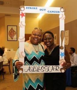 <em>Breast cancer survivors, Kiva Moore Bodley and Diane Brown, enjoying the recent Survivors Day event.</em>