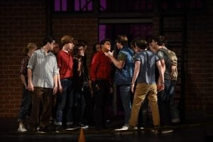 """<em>West Side Story's """"The Sharks and the Jets."""" Bernardo is played by Briarwoods' Thomas Dillard and Riff by Cole Garner.</em>"""