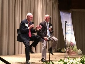 """<em>Tom Bradford, Chairman of the Board and President of NCF Alabama and his son Jim Bradford, V.P. of NCF Alabama, address the crowd at the 10th Anniversary Celebration, <a href=""""http://www.ncfgiving.com/alabama"""">www.ncfgiving.com/alabama</a>.</em>"""