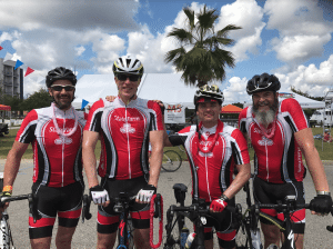 "<em>Last year Waters' team raised $11,000 for MS. Seen here (L to R) are Al Schlosser, Thomas Waters, Eric Riddle, and Shane Roberts. Every dollar raised helps fund critical research, programs and services for people affected by MS, <a href=""http://www.bikems.org"">www.bikems.org</a>.</em>"