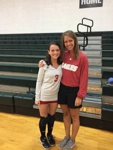 HCA Athlete Abby Vigneulle with HCA Volleyball Coach Peyton Kirk.
