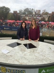Lauren Sisler with her Aunt Linda on the set of SEC Nation. Sister to Leslie Sisler, Linda Rorrer stepped in as a mentor and mother figure after Lauren's parents' deaths, encouraging her to return to her academic and gymnastics commitments at Rutgers University after two weeks of grieving.