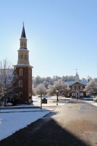 "The Festival Service of Nine Lessons and Carols will be held at The American Village Chapel in Montevallo. The chapel is seen here December 2017 in a blanket of snow. ""I never tire of this service, for it is truly a wonderful start of the Advent and coming Christmas season.  And how we are indebted to those who offer their God-given talents to help make this such service such a blessing,"" Tom Walker, Founder & President, American Village"