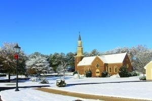 American Villate Chapel in snow horiz Featured Image