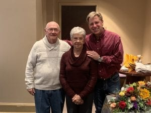 Pastor Jerre Rhoades, wife Letha and Clearbranch Lead Pastor Vaughn Stafford at reception honoring Rhoades for his service.