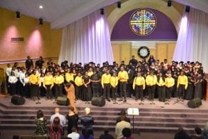 All choirs unite for a finale at the recent R.E.S.P.E.C.T. Benefit Concert at More Than Conquerors Faith Church.