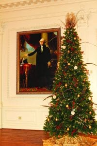 In virtually every public speech or public writing, Washington spoke of God's providential care in the establishment of the United States and its Constitution. Seen here in the American Village ballroom is a copy of the Lansdowne Portrait of George Washington by Gilbert Stuart, c. 1965, oil on canvas. The piece is on loan from the Birmingham Museum of Art.