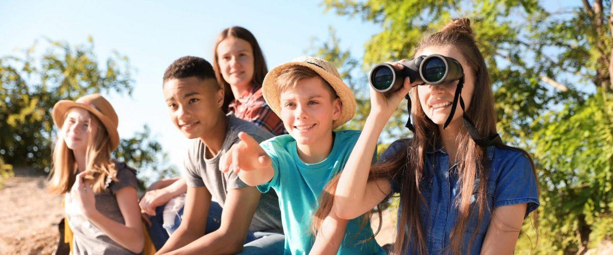 bigstock Group Of Children With Binocul 244248319