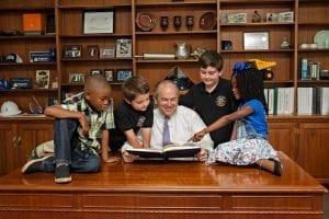 Mission Makers Presbyterian Home kids with Doug