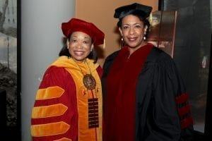 President McNair at Tuskegee's spring commencement with keynote speaker, former U.S. Attorney General, Loretta Lynch, who served as the first female African American Attorney General. Photo Credit: Tuskegee University.