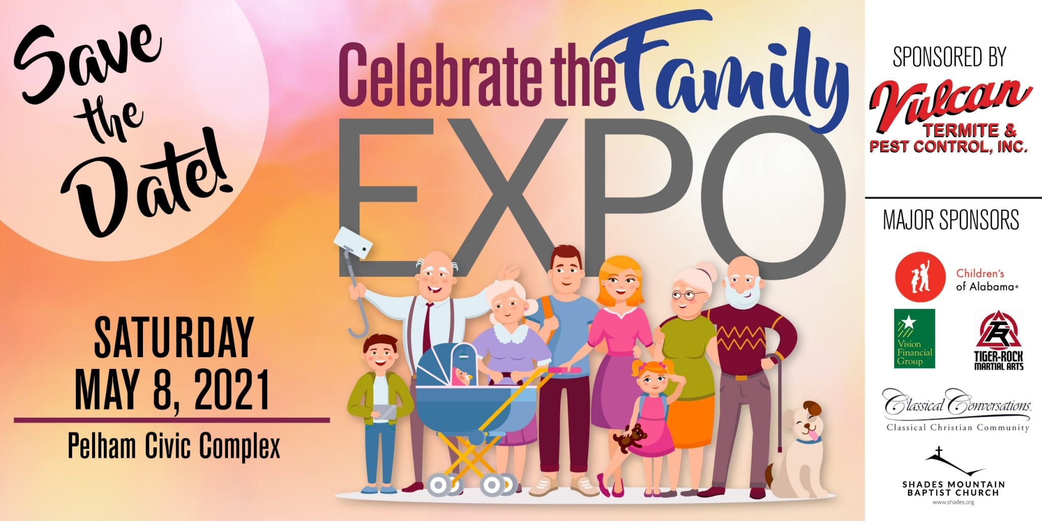 Expo save the date 2021 banner with sponsors
