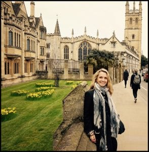 Patti Callahan Henry in front of Magdalen College at Oxford University