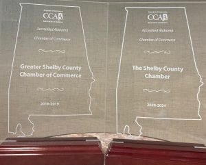 Business Today Shelby Chamber CCAA Accredidation Plaques