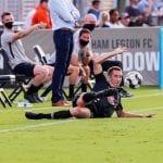 Jake Rufe Birmingham Legion action kick on ground