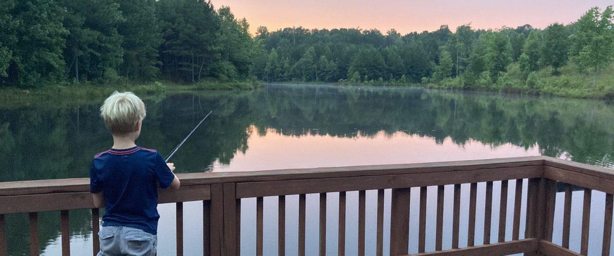 Luke Fishing at Camp McDowell