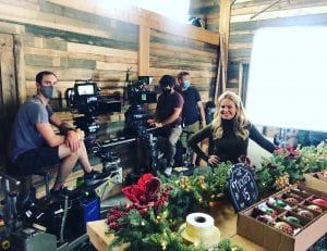Candace Cameron Bure on the Set of her Hallmark Christmas movie.