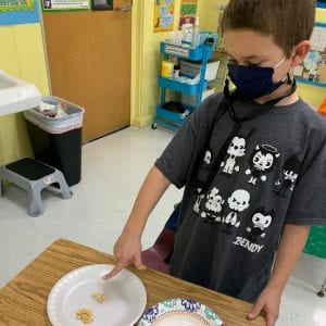 OLS School Student Counting Pumpkin Seeds