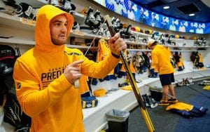 Rocco Grimaldi completing game day preparations