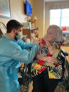 senior scene brookdale resident receives vaccine
