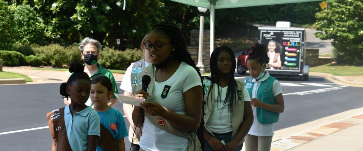 Youth News Flag Ceremony at Vulcan Girl Scouts Group Shot