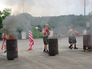 Youth News U.S Flags Retire at OLS Boys Burning flags