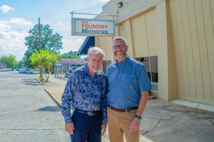 Micah with Bill outside of The Foundry