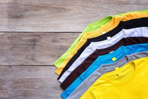 bigstock Top View Of Color T shirt On G 129524399