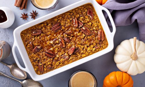 bigstock Baked Pumpkin Oatmeal With Pec 321125047